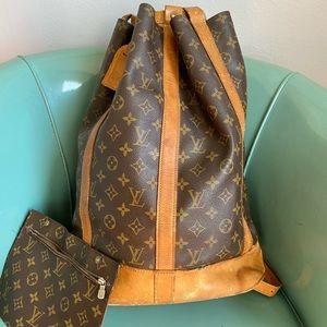 Auth Louis Vuitton randonnee GM w/ wallet